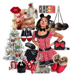 """minnie mini dress"" by saint-germain on Polyvore featuring Disney, National Tree Company, Fraser Hill Farms, Thom Browne, Lime Crime, Pier 1 Imports, LumaBase, Kate Spade, Casetify and Lazy Oaf"