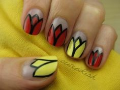 Top 101 Most Creative Spring Nail Art Tutorials and Designs - Page 3 of 7 - DIY & Crafts Flower Nail Designs, Nail Designs Spring, Cool Nail Designs, Yellow Nail Art, Floral Nail Art, Tulip Nails, Flower Nails, Latest Nail Art, Spring Nail Art