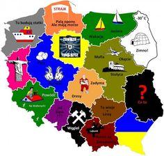 Tu jest Polska!  Cute Poland - centric map.  Mapa Polska