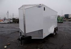 7' x 14' White Cargo Trailer With Rear Ramp Door. This Is a Very Nice 7' x 14' Cargo Trailer with a 2' Wedge Nose, Rear Ramp Door, Stone Guard, and a Pair of Flow-Thru Vents. $4,995 Any applicable fees and taxes are extra. Ref # HM637053   Advantage Trailers and Hitches