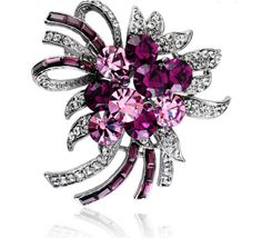 Unique Design Micro Pave Cubic Zirconia Flower Brooch, with Violet Crystals