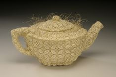 Donna Marder - Oval Geometric Lace Teapot - Sewn lace and wire. 5 x x in. Teapot Cover, Craft Museum, Cute Teapot, Fibre And Fabric, Paper Artwork, Metallic Paper, Bobbin Lace, Pretty And Cute, High Tea