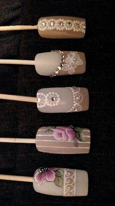 Flower Nail Designs, Fall Nail Art Designs, Diy Nail Designs, Rose Nails, Flower Nails, Nail Art Hacks, Gel Nail Art, Vintage Nails, Long Nail Art