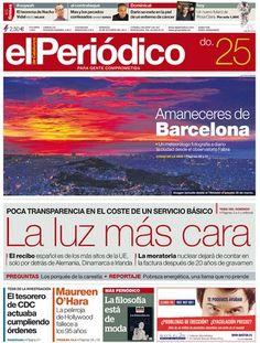 'La luz más cara', en la portada de EL PERIÓDICO DE CATALUNYA
