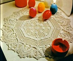 Crochet doily with pattern diagram