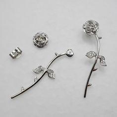 Sterling Silver Long Stem ROSE Earrings Ear Cuff 24K by deemoda