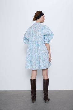 Short dress with ruffled round neck and elbow-length sleeves. Ruching at waist. Poplin Dress, Zara Dresses, Short Dresses, Sleeves, Sweaters, Prints, Canada, Fashion, Templates