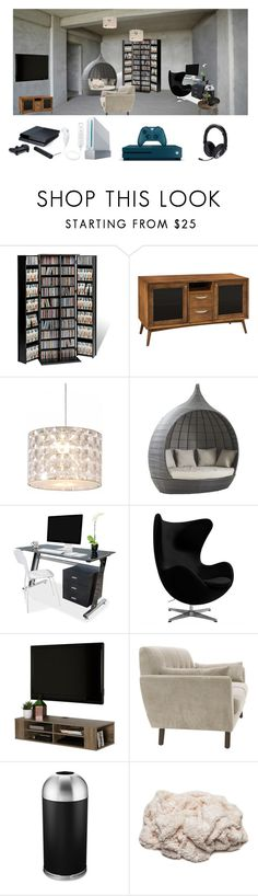 """""""Basement/Gameroom"""" by its-me-destiny ❤ liked on Polyvore featuring interior, interiors, interior design, home, home decor, interior decorating, Prepac, DutchCrafters, Innermost and South Shore"""