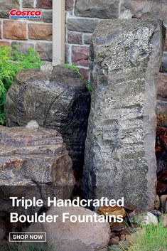 The Triple Handcrafted Boulder Fountain Set bundles has an easy-to-install kit which includes everything you need to create an impressive, recirculating, three-piece fountain. These fountains are extremely durable and crafted to be a one-of-a-kind water feature for your backyard. Shop for more landscaping ideas at Costco.com.