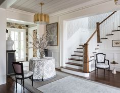 In the #foyer and upper #hall of the 2015 #DC #Design #House, the walls were covered in a paper-backed #embroidered #fabric by Robert Allen/Beacon Hill.  #InteriorDesign: Pamela Harvey Interiors  See more projects at: http://www.HandD.com/PamelaHarvey