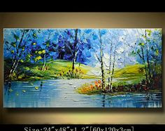 contemporary wall art, Palette Knife Painting,colorful tree painting,wall decor , Home Decor,Acrylic Textured Painting ON Canvas by Chen 509