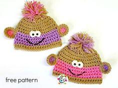 Free Crochet Pattern: Twin Baby Monkey Beanies - http://makeitcrochet.com/free-crochet-pattern-twin-baby-monkey-beanies/