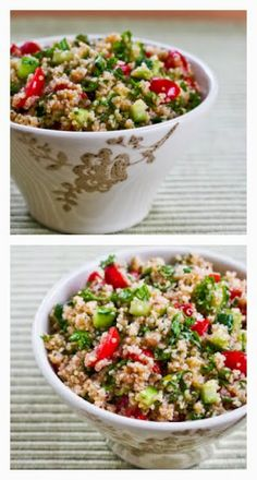 I love this Quinoa Tabbouleh Salad with Parsley and Mint; this gluten-free version of tabbouleh is something I make every summer. [from Kalyn's Kitchen] #GlutenFree #Vegan #SummerFoods #MeatlessMonday