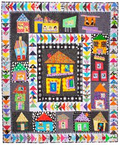 Wonky House quilt by Talking Lunchbox Quilts, inspired by Freddy Moran House Quilt Patterns, House Quilt Block, Quilt Block Patterns, Quilt Blocks, Bright Quilts, Small Quilts, Sampler Quilts, Scrappy Quilts, Mini Quilts