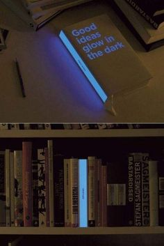 A light in the middle of the bookshelf