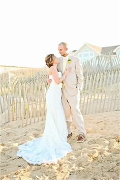 romantic bride and groom beach portraits, yellow and pink beach wedding, Macon Photography