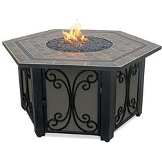 Wakefield six-sided Gas Fire Bowl with a handcrafted bronze fire glass and tile hearth.