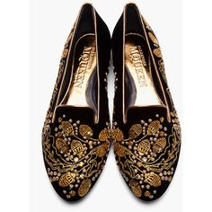 ALEXANDER MCQUEEN Black Velvet Sequin & Embroidered Acorn Slippers