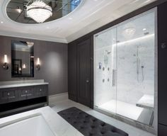 nice white shower.. not sure about the mirrors above
