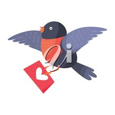 Bullfinch bird with red chest flying with envelope isolated on white. Bird holds mailing letter with heart. Cute cartoon greeting card design. Valentines day concept vector illustration in flat style #2670562 | Clipart.com Valentines Day Clipart, Bullfinch, Flat Style, Fashion Flats, Cute Cartoon, Royalty Free Images, Envelope, Hold On, Greeting Cards