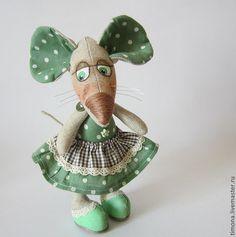 Купить Мышуля Горошкина - зелёный, мышка игрушка, подарок, текстильная игрушка, текстильная мышка