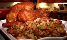 Starting to think about Thanksgiving Dinner! Check out our Smoked Turkey with Andouille Sausage, Shrimp and Cornbread Stuffing