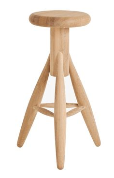 Eero Aarnio is not very known for its wood products, but the Rocket stool shows that Aarnio is skilled also in this field. Rocket is a bar stool whose sturdy puffy shape seems inviting to seat down. Aarnio originally designed the Rocket stool for his kitc Wooden Bar Stools, Bar Stool Chairs, Bench Furniture, Furniture Design, Furniture Ideas, Wooden Furniture, Vitra Design Museum, Designer Bar Stools, Ball Chair
