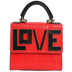 Les Petits Joueurs Women Mini Alex Love Water Snake Leather Bag ($1,405) ❤ liked on Polyvore featuring bags, handbags, shoulder bags, miniature purse, leather shoulder handbags, mini leather handbags, red handbags and genuine leather handbags