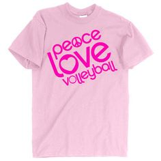 Worldwide Sport Supply Peace Love Volleyball Tee Pink at Volleyball.com