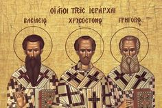 Feast of the Three Holy Hierarchs, Great Hierarchs and Ecumenical Teachers, Basil the Great, Gregory the Theologian, and John Chrysostom The three Hierarchs—an earthly trinity as they are called in. John Chrysostom, Lives Of The Saints, School Life, Holy Spirit, Unity, Christianity, Catholic, Activities, Education