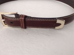 Greg Norman Men's Brown Italian Leather Belt Size 38 Shark Logo #GregNorman