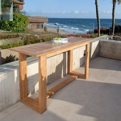 The Horizon Teak Buffet Table is a dining table height, narrow console table measuring x x Teak Outdoor Furniture, Kitchen Furniture, Furniture Design, Consoles, Westminster Teak, Dining Table Height, Table Haute, Balcony Design, Small Patio