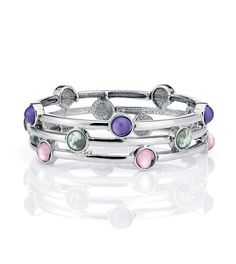 SNOW CONE -- Pink and purple resin accents pink up the iridescent beat of genuine abalone stones punctuating triple rounds of silver.