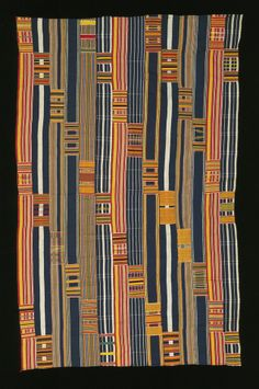 Africa | Woman's Kente wrapper from the Ewe people of Ghana | 20th century | Cotton; strip woven, supplementary weft patterning, weft face patterning