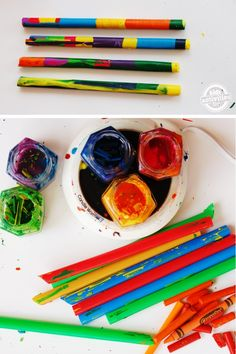 LOVE LOVE LOVE these DIY crayon wands to upcycle old crayons and create ART.  Genius. Making Crayons, Diy Crayons, Broken Crayons, Cool Diy Projects, Craft Projects, Craft Ideas, Fair Projects, Activity Ideas, Science Projects