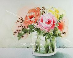 Bouquet of Roses Print of Watercolor Painting Flowers Floral Garden Housewarming Art