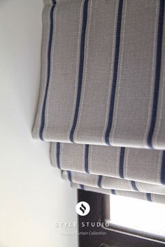 Mathers Wedgewood striped roman blind from Style Studio.