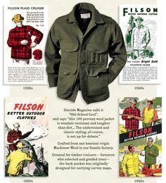 Filson Mackinaw Cruiser coat with vintage ads ...