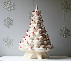 vintage white ceramic Christmas tree by ModishVintage My Grandmother had one of these! Ceramic Christmas Trees, Xmas Trees, Christmas Time Is Here, Christmas Past, All White Room, Vintage Christmas Images, Light Texture, Green Accents, Sea Foam