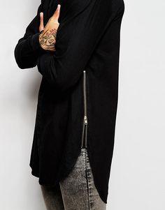 Image 3 ofASOS Longline Shirt In Black Overdye With Zips In Long Sleeve