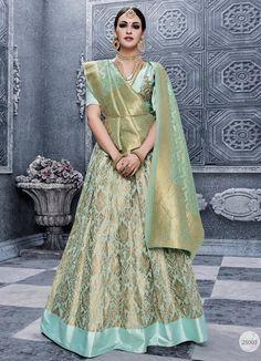 Aqua Shade Banarasi Silk Lehenga
