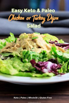 Keto Chicken or Turkey Dijon Salad | Beauty and the Foodie Chicken Salad Calories, Paleo Chicken Salad, Keto Chicken, How To Cook Chicken, Leftover Rotisserie Chicken, Leftover Chicken Recipes, Low Carb Chicken Recipes, Clean Eating Recipes, Lunch Recipes