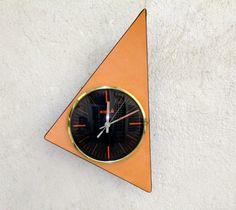 Orange KIPLE French 1960s-70s Formica Clock by Decofanatique