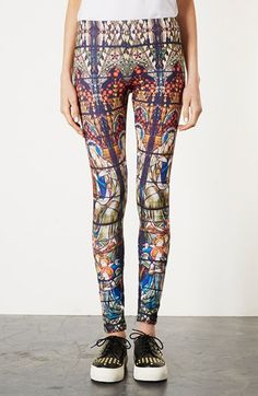 Topshop Stained Glass Print Scuba Leggings available at #Nordstrom