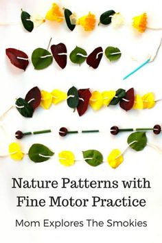 This fine motor learning activity for kids teaches patterning (patterns) while incorporating nature play. This fine motor learning activity for kids teaches patterning (patterns) while incorporating nature play. Fine Motor Activities For Kids, Autumn Activities For Kids, Nature Activities, Summer Activities For Kids, Infant Activities, Therapy Activities, Math Activities, Nature Based Preschool, Preschool Math
