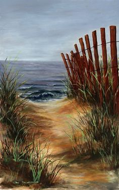 Beach Path by Cynthia Howard, Oil, 29 x 20 Watercolor Artists, Watercolor Landscape, Abstract Landscape, Watercolor Painting, Seascape Paintings, Landscape Paintings, Beach Paintings, Oil Paintings, Painting Portraits