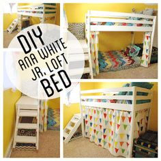 DIY Toddler Loft Bed | Kids Wood Loft Bunk Bed with stairs and curtain