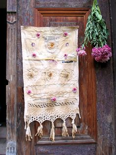 Folk Art Mixed Media Fabric Assemblage Collage Wall by dreamsBee