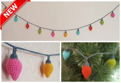 Crochet bunting Knitted garland Christmas lights Home decor Party decoration…