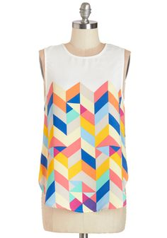Tessellate in the Day Top in Brights. Whether its morning, noon, or night, it's the right time to outfit yourself in this silky tank top! #multi #modcloth